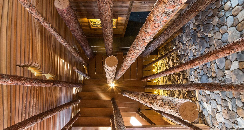 trocs de mélèzes en escalier